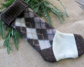 Ready to ship!  Argyle country Christmas stocking recycled sweater . Eco friendly holiday stocking
