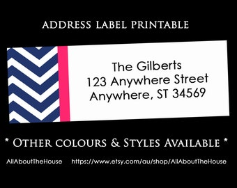 Printable Chevron Address Label - Return Address Sticker - Avery 5160 Compatible - Personalised -Rectangle- Custom - DIY Printable - Digital