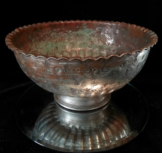 Sale Egyptian Copper Bronze Console Bowl Dish Brass Etched