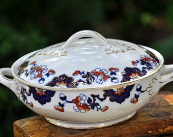 Covered vegetable bowl, Blue white rust, English, Vintage covered vegetable bowl, gold accents, #208