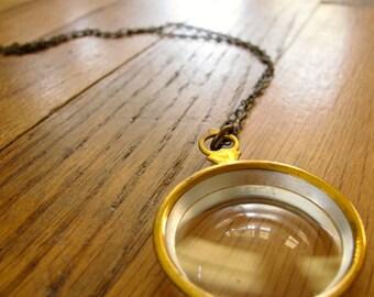 34 inch antique 1800's victorian era optical lens necklace