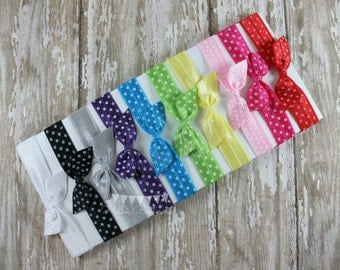 10 Polka Dot No Tug Elastic Hair Ties - Soft Elastic Hair ties - Polka Dot Ponytail Holder
