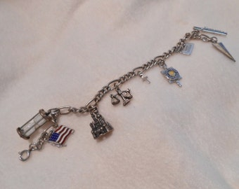 Sands of Time Hourglass Sterling Silver Charm Bracelet With 9 Charms, c. 1970