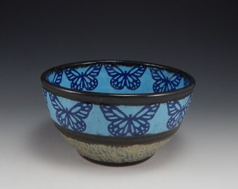 ceramic cereal bowl, ceramic prep bowl, blue stoneware bowl, blue butterfly