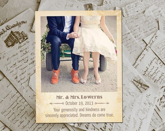 """Wedding Thank You Magnets - RusticGroove Vintage Photo Personalized 4.25""""x5.5"""""""