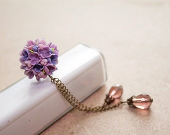 Violet lilac Cell phone dust plug, phone accessories, handmade phone charm, polymer flower