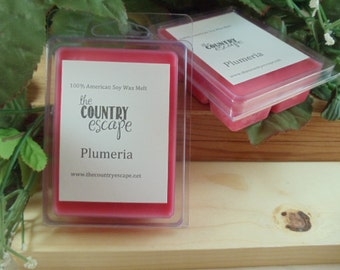 Plumeria Scented 100% Soy Wax Melt - A Strong Fruity and Floral Scent - Maximum Scented