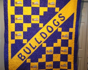 "Custom Made ""School Quilt""/with your colors and mascot (100.00 deposit)"