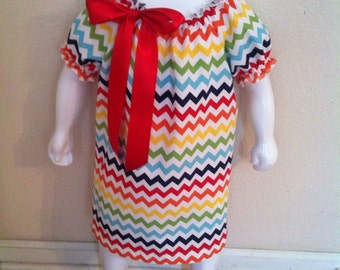 Rainbow chevron peasant dress size 6