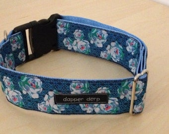 "Navy & Light Blue Rose Print 2"" Dog Collar"