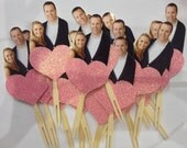 Photo cupcake toppers. Glitter heart themed.
