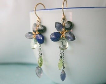Gemstone Flower Earrings 14gold filled