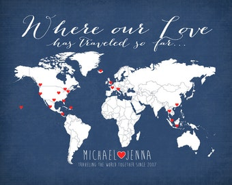 Where our Love Has Traveled -  Personalized Map Art Print, Wedding Gift, Couple who Loves to Travel, World Travel Couple - Honeymoon