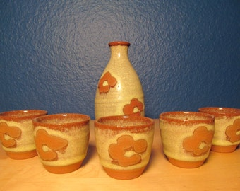 Red Clay Floral Saki Set - OMC Japan