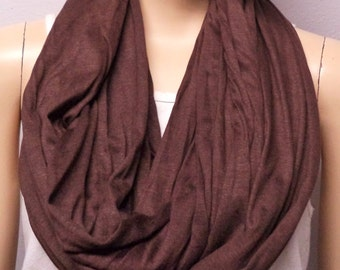 Chocolate Brown  Infinity Scarf SUPER Soft Knit