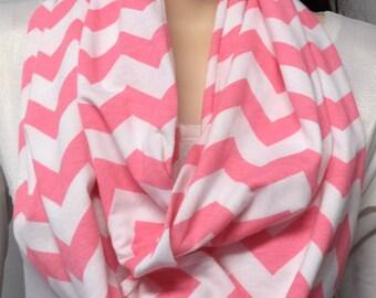 Pink  & White Chevron Print  Infinity Scarf  Jersey Knit