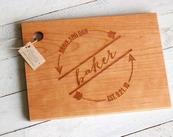 Custom Personalized Wood Cutting Board - Circular Design With Arrows. Name and Date