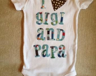 I heart Gigi and Papa blue and brown appliquéd baby onesie