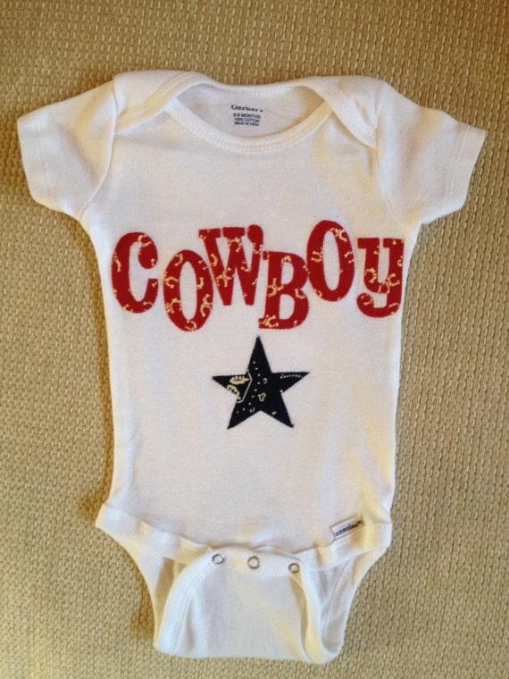 baby boy western cowboy red white and blue 100% cotton onesie