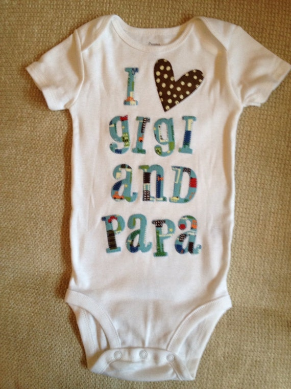 I Heart Gigi And Papa Blue And Brown Appliqu 233 D Baby Onesie