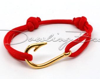 Fish Hook Bracelet on Paracord - Customize It - 6 Hook Colors