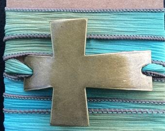 Silk Wrap Bracelet with Oversized Sideways Cross