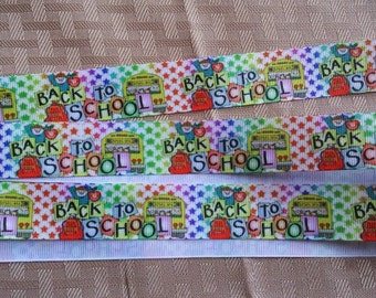 SALE-Back to school-schoolbus-school ribbon-1 inch-print ribbon- boutique suppies-hair bow ribbon-wholesale