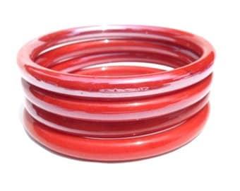 1960s Set of 4 Vintage Red Glass Bangle Bracelets