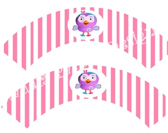 Hootabelle cupcake wrappers DIY printable, Giggle and Hoot wrappers