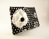 Black and White Clutch Purse with Polka Dots, Flowers, and White Satin Bow