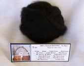 1 oz. Alpaca Black 100% Natural Carded Roving For Spinning, Nuno Felting or Needle Felting