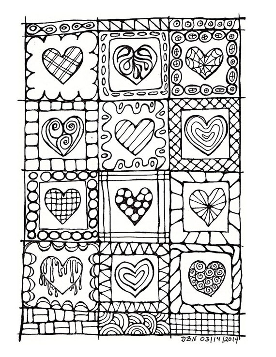 Adult Colouring Page:Original Hand Draw Art in Black and White, Digital Download