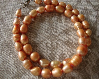 Necklace Vintage Jewelry Pearls Freshwater Genuine Peach Pink Beaded Charming Handmade