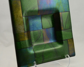 Emerald Fields Fused Glass Dish