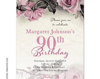 Vintage Rose Illustration Adult 90th Birthday Invitations Pink Grey Ivory Printed
