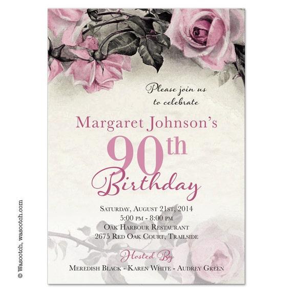 Vintage Rose Illustration Adult 90th Birthday Invitations Pink