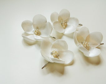 Flower Hair Pins  Wedding Headpiece Bridal Headpiece Ivory Bridal Hair  Flowers Bridesmaid Hair Flowers Flower  Headpiece Ivory Hair Flowers