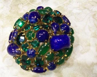 Original by Robert Brooch/Pendant blue/green stones  2  1/2in.