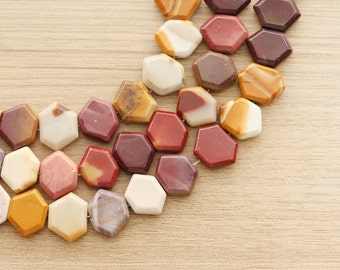 10 pcs of Hexagon Moukaite Jasper Natural Gemstone Beads - 15 x 20 mm