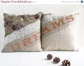 ON SALE Couple Pillow Covers - Appliqued Laces - Handpainted, ready to ship