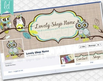 Owl Facebook Cover Photo Set Facebook Timeline - Cover Photo, Profile Picture, and Two Tab Icons Blue and Green Owls on Linen