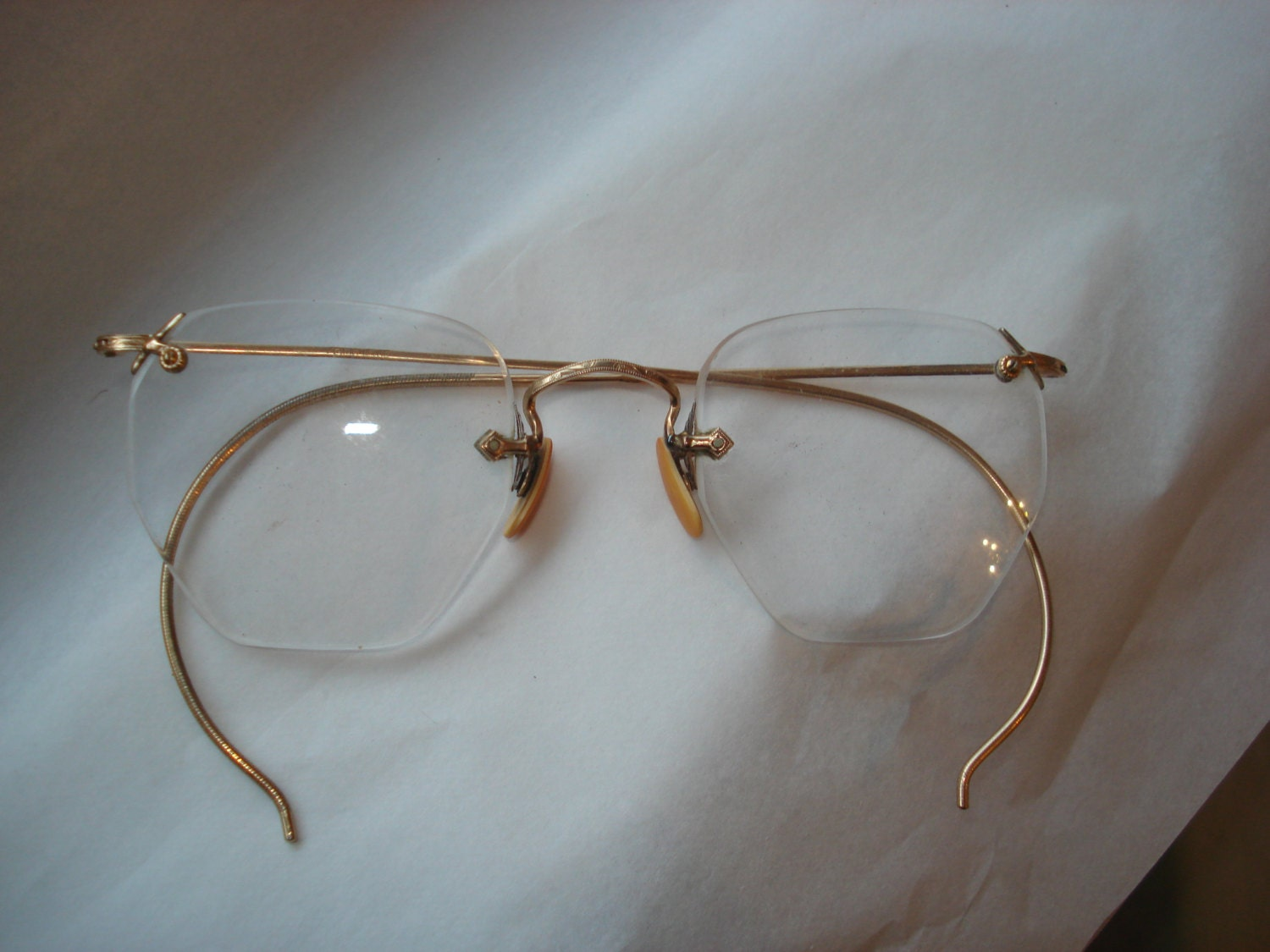 Gold Wire Glasses Frames : Vintage Wireless Rim Eyewear Glasses Gold Wire