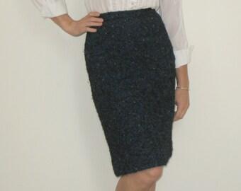 60s Vintage Navy Blue Wool Tweed/Twill A-Line Skirt by Merrill Block's New Englander