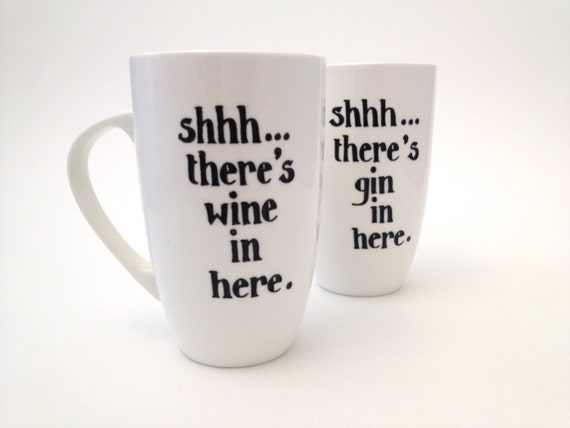 Shhh...there's wine in here. Large White Fine Bone China Mug