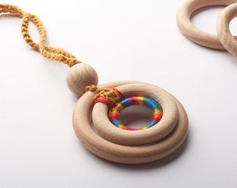 Organic Nursing Necklace/ ECO-Friendly Baby Teething Necklace/ Wooden development toy,TOP1234