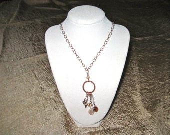 Pendant Necklace - Copper with mixed stones