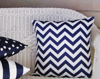 Navy Chevron Pillow Cover Indigo Blue White Decorative Zig Zag Throw Accent Toss 16x16 18x18 20x20 22x22 12x16 12x18 12x20 14x22 Zipper
