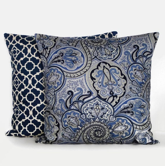 Sale Navy Blue Throw Pillow Cover Paisley Ivory 16x16 Lapis