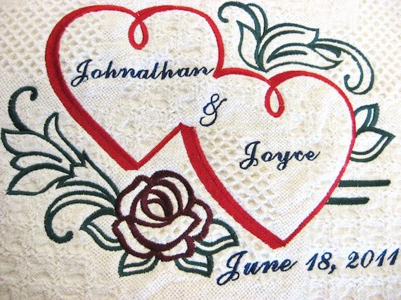 Personalized Wedding Afghan, Wedding Blanket, Bridal Gift, Double Heart Keepsake Wedding Throw, Bride and Groom Blankets, Anniversary Gift