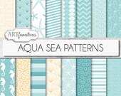 "Beach digital papers ""AQUA SEA PATTERNS"" teal, shells, seahorse, waves, seashell, ocean, starfish, chevron, sea, beach, nautical, seashore"
